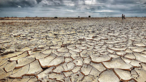 Image of a cracked, dry lake bed somewhere in the desert.
