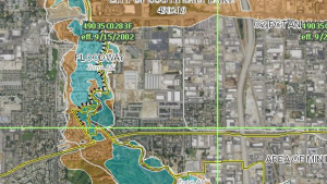 Image of a flood hazard map showing potential flood risk of an undisclosed location.