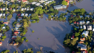 Aerial view image of a flooded town.