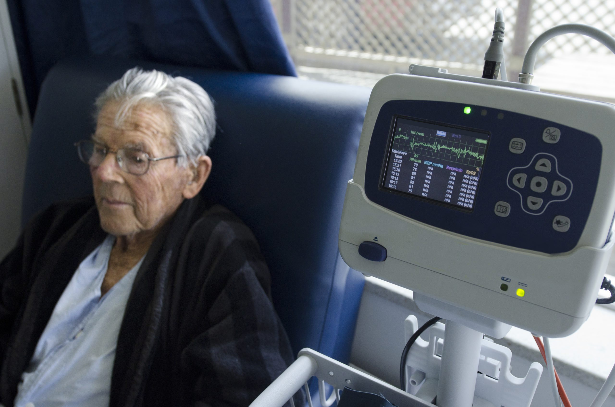 Heart rate monitor of a sick elderly man.