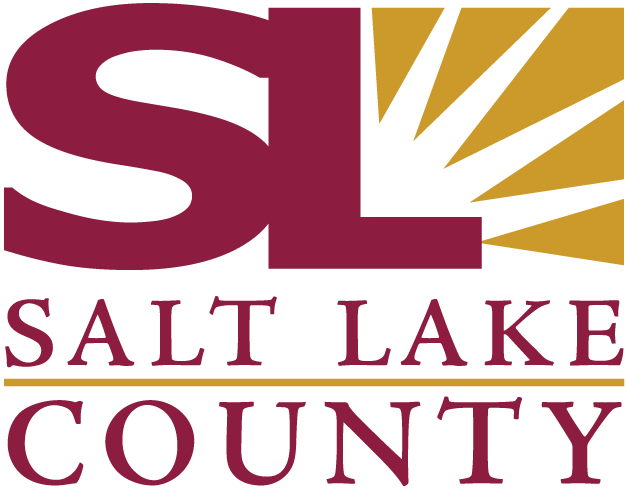 Salt Lake County Government logo with red lettering and a yellow quarter sunburst.