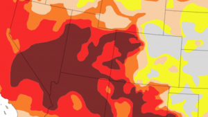 Image of a drought monitor map showing extreme drought of the western United States.