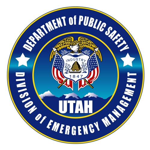 Utah Division of Emergency Management logo (blue circle with state seal: golden eagle and two American flags).