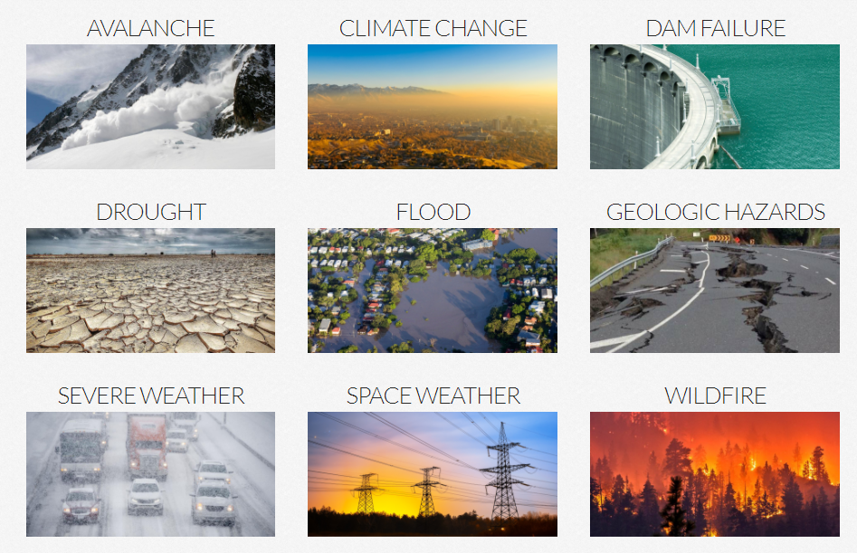 A graphic made up of images of nine different Utah Hazards: avalanche, climate change, dam failure, drought, flood, geologic hazards, severe weather, space weather, and wildfire.