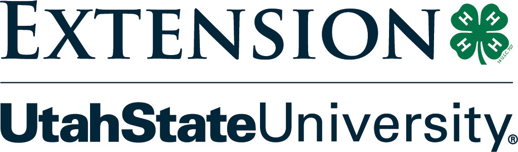 Utah State University Extension Service logo with a four-leaf clover with white H's in each leaf.