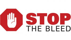 Stop the Bleed logo (with an image of a hand superimposed over a stop sign)